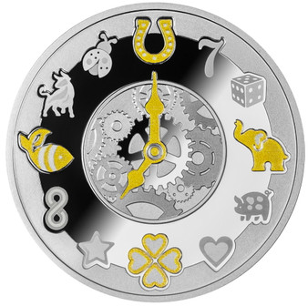 LUCKY HOURS CLOCK Silver Proof Coin Cameroon 2021