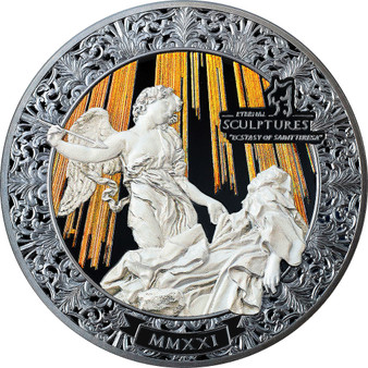 ECSTASY OF SAINT TERESA Eternal Sculptures 5 oz Silver Coin Palau 2021