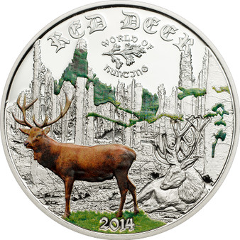 Cook Islands 2014 2$ World of Hunting - Color Red Deer Silver Coin Proof