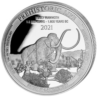 WOOLY MAMMOTH 1 oz Silver Coin 20 Francs 2021 Congo
