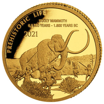 WOOLY MAMMOTH Prehistoric Life 0.5g Gold Coin 100 Francs 2021 Congo