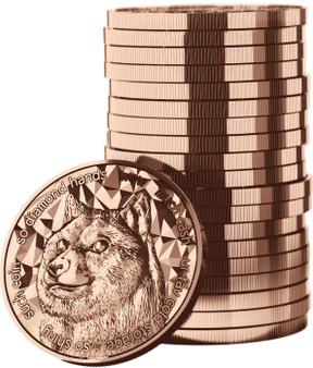 DOGE COIN – 1 oz    .999 Pure Copper Bullion 2021 Tube of 20