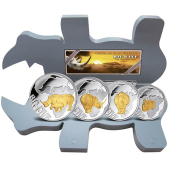 RHINO BIG FIVE series 4 Coin Set Silver Gilded Coin 2021 Congo