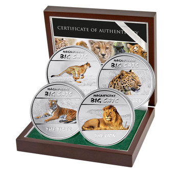 BIG CATS 4 Coin Set Proof Silver Color Coin Congo 2011
