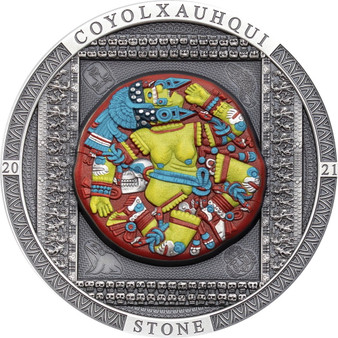AZTEC COYOLXAUHQUI STONE 3 oz Silver Color Coin Cook Islands 2021