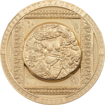 AZTEC COYOLXAUHQUI STONE 3 oz Silver Gold-plated Coin Cook Islands 2021