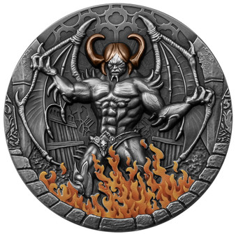 BEELZEBUB 2 oz Silver Antique High Relief Gilded Coin Cameroon 2021