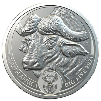 BUFFALO BIG FIVE 5 Rand 1 oz Silver Coin in Blistercard South Africa 2021