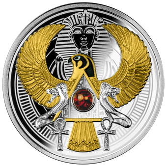 FALCON OF TUTANKHAMUN with AMBER Insert Silver Coin Niue 2021