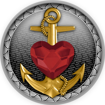 FAITH HOPE LOVE ANCHOR Swarovski Elements Silver Coin Cameroon 2021