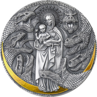 LADY AND THE DRAGON Apocalypse 3 oz Silver Coin Cameroon 2021