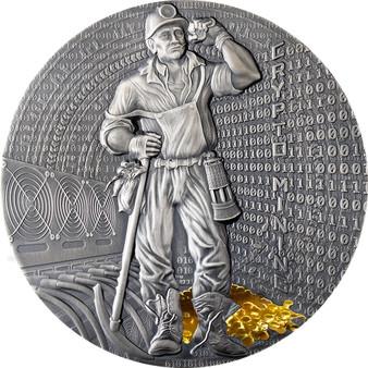 CRYPTO MINING 50g (1.6 oz) Silver Gilded High Relief Coin Niue 2021