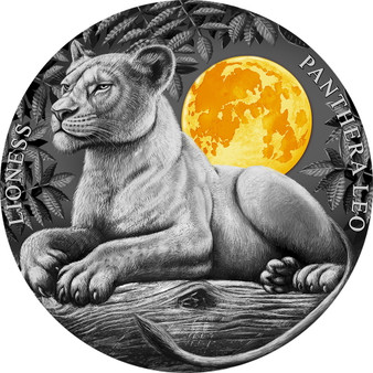 LIONESS  Wildlife In The Moonlight   2 oz Silver Coin $5 Niue 2021