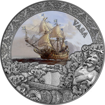 VASA Grand Shipwrecks 2 oz Antique finish Silver Coin $5 Niue 2021