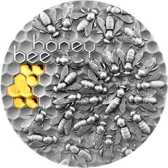 HONEY BEES 2 oz Antique finish Silver Gilded Coin $5 Niue 2021