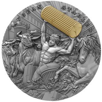 AUGEAN STABLES Twelve Labours of Hercules 2 oz Silver Coin Niue 2021