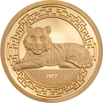 CHARMING TIGER Lunar Year 0.5 g Gold Proof Coin Mongolia 2022