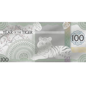 YEAR of TIGER Lunar Year Silver Foil Note 100 Togrog Mongolia 2022