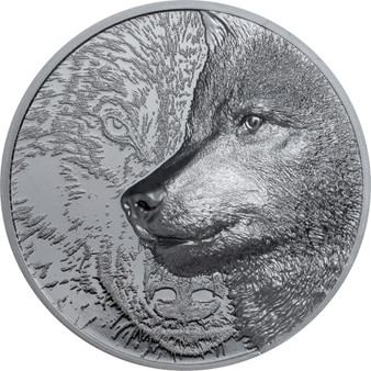 MYSTIC WOLF 2 oz Silver Black Proof Coin 1000 Togrog Mongolia 2020