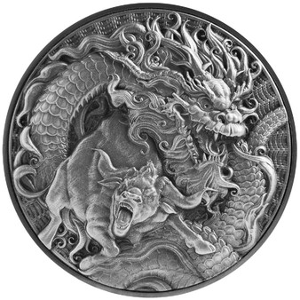 CHINESE DRAGON & OX  2 oz Silver 80mm BI-Metal Coin 2021 Tokelau