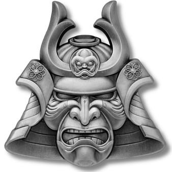 SAMURAI MASK Ancient Warriors 2 oz Silver Coin Samoa 2021