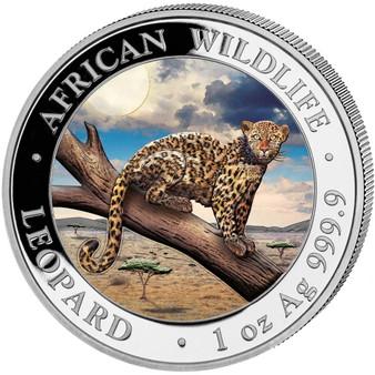 LEOPARD African Wildlife 1 oz Silver Color Coin Somalia 2021