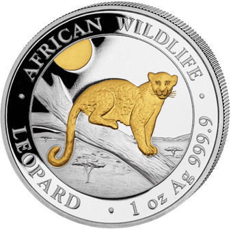 LEOPARD  African Wildlife  1 oz  Silver  Gilded Coin Somalia 2021