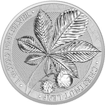 CHESTNUT LEAF 1 oz Pure Silver BU 2021