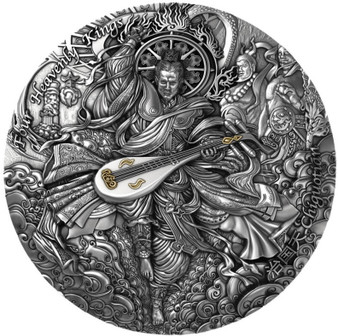 CHIGUOTIAN Four Heavenly Kings 2 oz High Relief Silver Coin Niue 2021