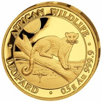 LEOPARD 0.5g Gold Coin 20 Shillings 2021 Somalia