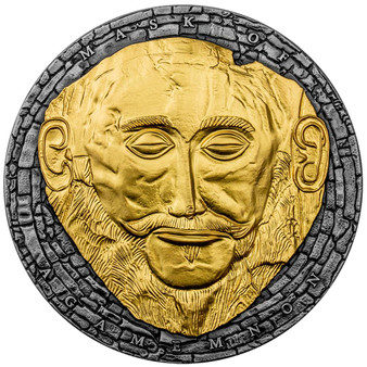 MASK OF AGAMEMNON 3 oz Silver Coin 3000 Francs Cameroon 2021