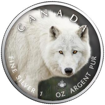 ARCTIC WOLF Canada's Wildlife Maple Leaf 1 oz. Silver Coin 2021