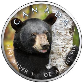 BLACK BEAR Canada's Wildlife Maple Leaf 1 oz. Silver Coin 2021