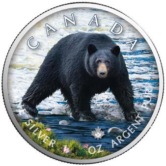 BLACK BEAR Trails of Wildlife Maple Leaf 1 oz. Silver Coin Canada 2021