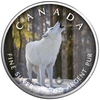 ARCTIC WOLF Trails of Wildlife Leaf 1 oz. Silver Coin Canada 2021