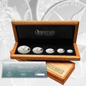 LIBERTAD 1.90 oz Silver Set 5 Silver Proof Coins Mexico 2021