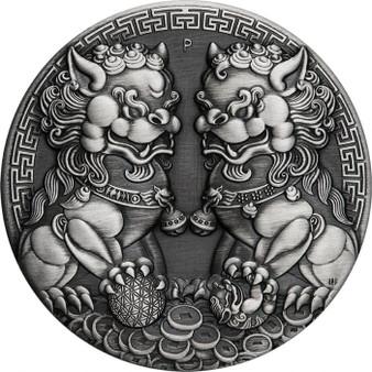 GUARDIAN LION DOUBLE PIXIU 2 oz Silver Antique Coin Australia 2021