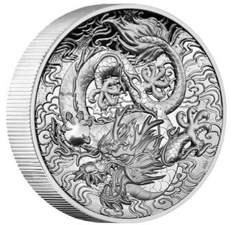 DRAGON 2 oz Silver High Relief Proof Coin Australia 2021