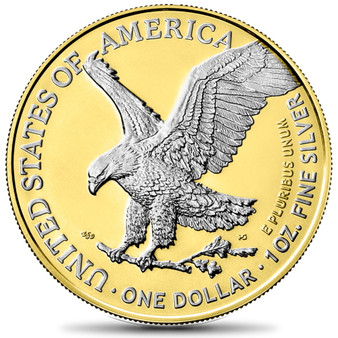 AMERICAN EAGLE Type 2 Silver Gilded Coin USA 2021