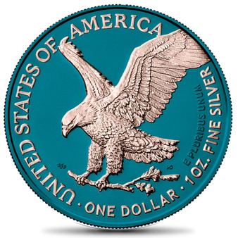 AMERICAN EAGLE Type 2 Silver Space Blue & Rose Gold Coin USA 2021