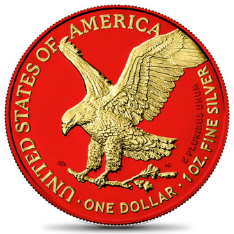 AMERICAN EAGLE Type 2 Silver Space Red & Gold Coin USA 2021
