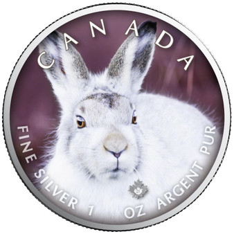 SNOW HARE Canada's Wildlife Maple Leaf 1 oz. Silver Coin 2021