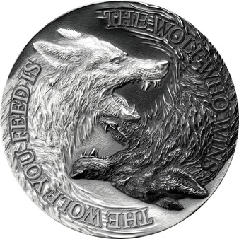 TWO WOLVES 1 oz Antique Finish Silver Coin $2 Niue 2021