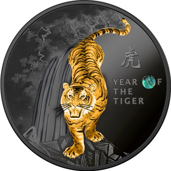 YEAR OF THE TIGER Chinese Calender Silver Proof w/Ruthenium Coin Cameroon 2022
