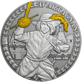 D'ARTAGNAN AND THE MUSKETEERS Silver Antique Finish Coin $1 Niue 2021