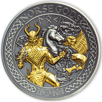 LOKI Norse Gods 2 oz Silver Gold Plating Coin Cook Islands 2022