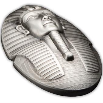 THE MASK OF TUTANKHAMUN 3 oz Silver 3D Shape Coin Djibouti 2022