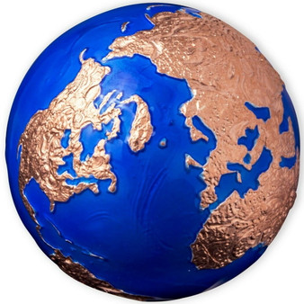BLUE MARBLE Rose Gold Plating Earth 3 oz Silver Coin Barbados 2021