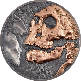 HOMINIDAE  Evolution of Life  1 oz Silver Coin  500 Togrog Mongolia 2021