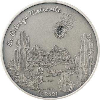 LA CIÉNEGA Meteorite Impacts 1 oz Silver Coin $5 Cook Islands 2021
